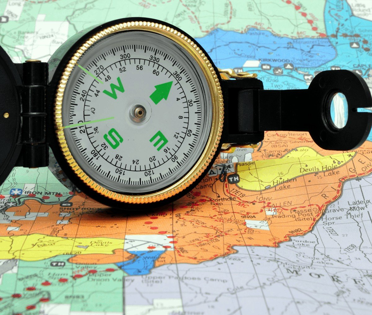 how to read Lensatic Compass